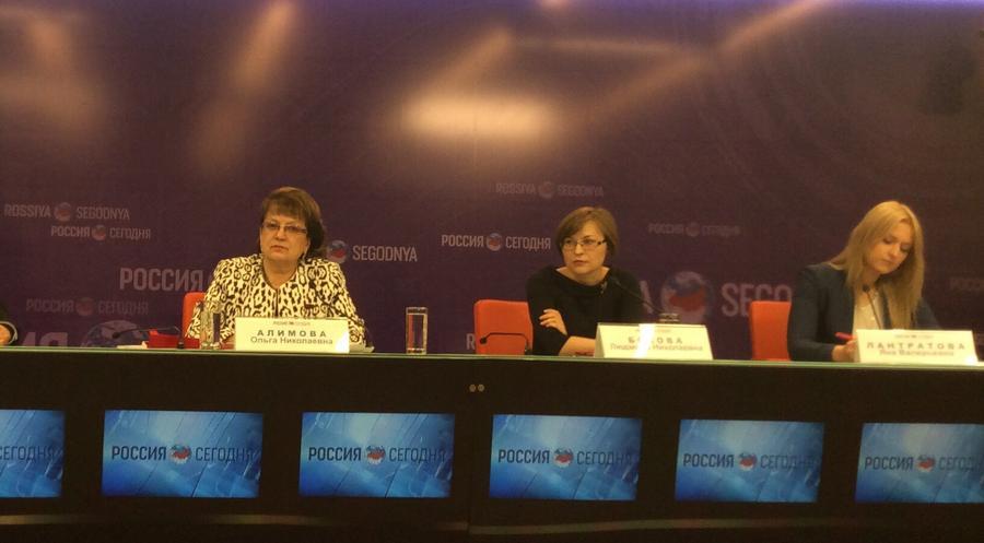 О.Н. Алимова на пресс-конференции в РИА Новости: Мониторинговая группа по нарушению прав детей на Украине должна прорвать информационную блокаду на Западе и отстоять фундаментальные права ребенка в зоне конфликта