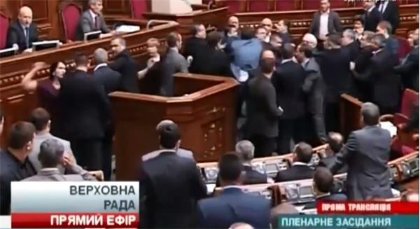 Во время выступления П.Н. Симоненко в Верховной Раде Украины бандеровцы развязали драку