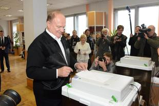 Г.А. Зюганов проголосовал на выборах мэра Москвы