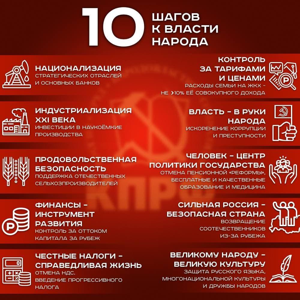 КПРФ идёт на выборы с Программой «10 шагов к власти народа»