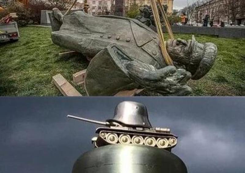 В Чехии вместо снесённого памятника Коневу установили танк с фашистской военной каской, увековечив власовцев