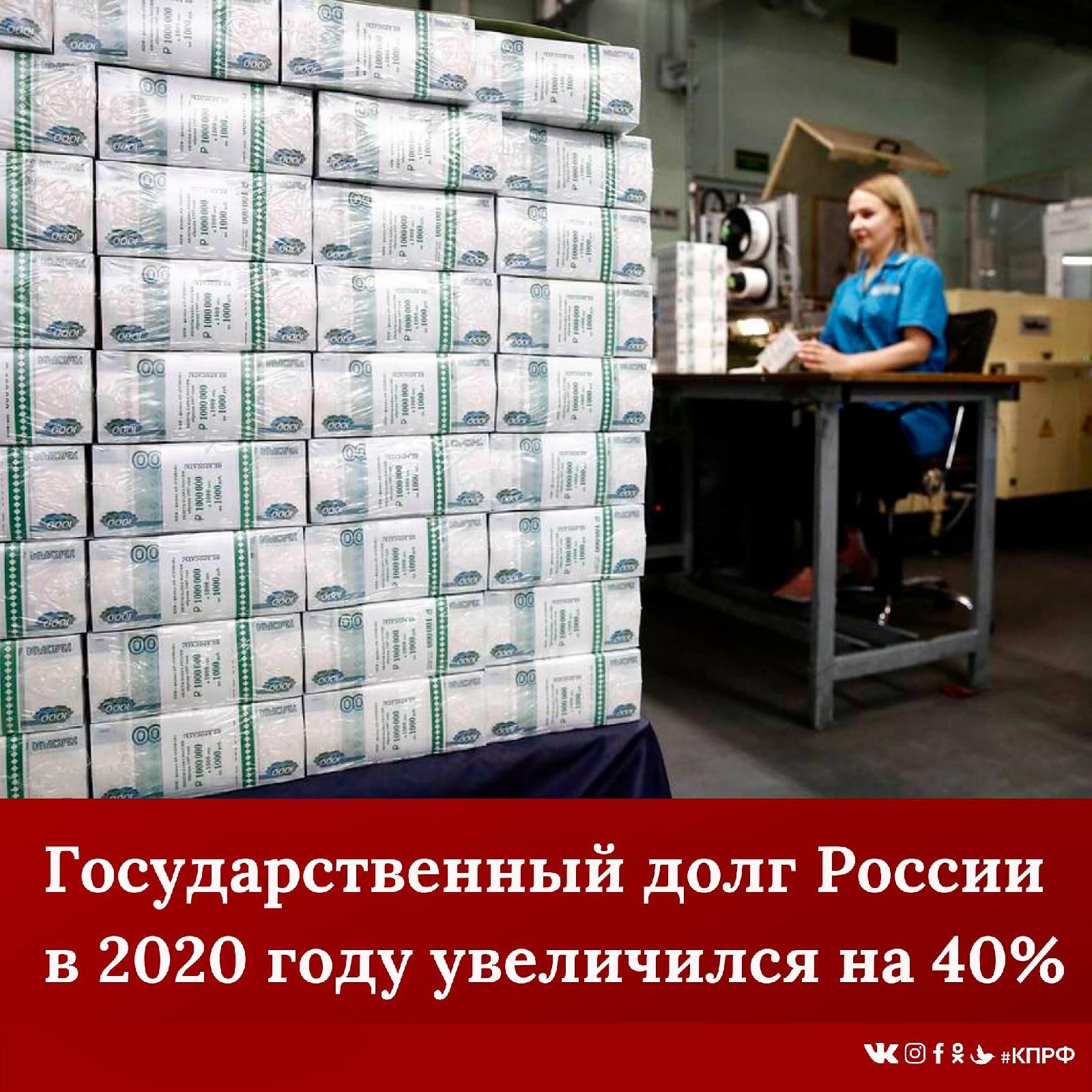 Государственный долг РФ в 2020 году увеличился на 5,4 трлн. рублей – до 18,99 трлн. рублей.